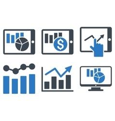 Sales Charts Flat Icons vector image