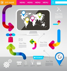 Web Design Template - Technology Infographics with vector image vector image