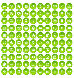 100 call center icons set green circle vector