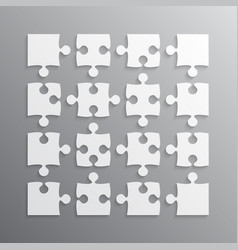 16 white puzzle pieces jigsaw puzzle vector image