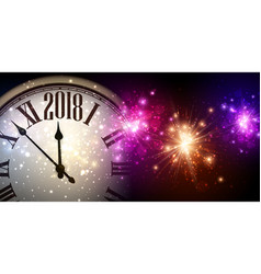 2018 new year banner with clock vector