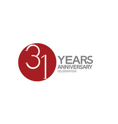 31 years anniversary logotype design with big red vector