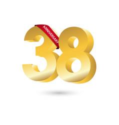 38 year anniversary template design vector