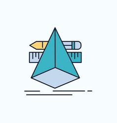 3d design designer sketch tools flat icon green vector image