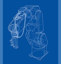 3d outline robotic arm rendering of 3d vector