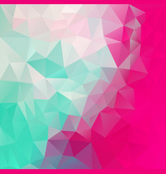 Abstract polygon square background mint green pink vector