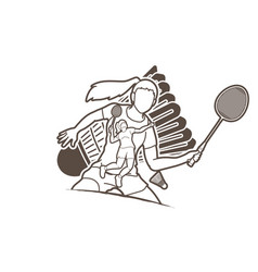 Badminton player action cartoon graphic vector