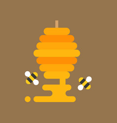 bees flying around honeycomb vector image