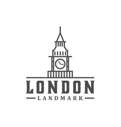 Big ben tower clock british london europe vector