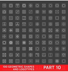 Big Set of 100 minimal geometric monochrome shapes vector