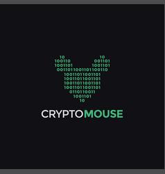 binary code mouse logo icon template vector image
