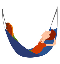 Boy in a hammock on white background vector