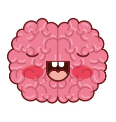 Brain character with concentrated expression in vector