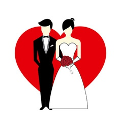 Bride and Groom with Heart vector image