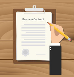 business contract business man signing a paper vector image