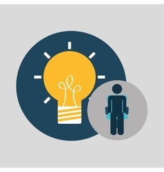 Business silhouette man idea bulb vector