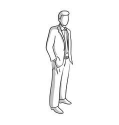 businessman standing sketch doodle vector image