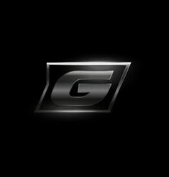 Carbon speed letter g logo dark matte metal vector