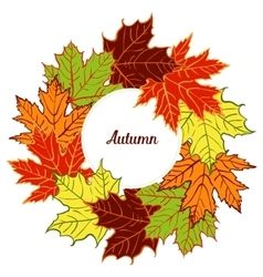 Cartoon autumn leaf wreath vector