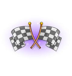 cartoon color crossed racing flag vector image