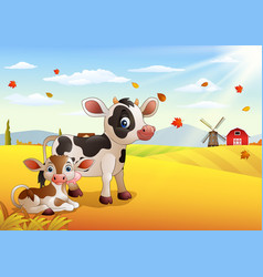 Cartoon cow with calf in the autumn weather vector