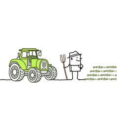 Cartoon farmer with tractor vector