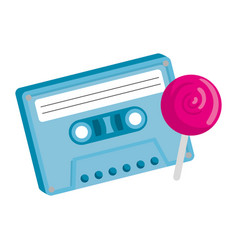 Cassette nineties with lollipop isolated icon vector