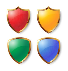 Collection of colorful shields with golden frames vector