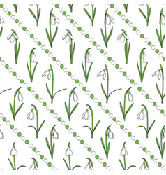 Colored seamless pattern with snowdrops vector