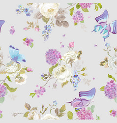 Colorful flowers background with butterflies vector