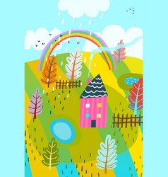 countryside summer house background kids drawing vector image