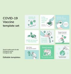 Covid19 19 editable template social media post vector