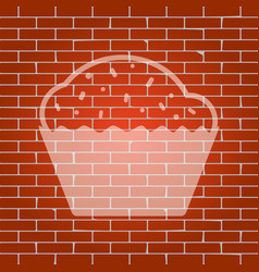 cupcake sign whitish icon on brick wall vector image