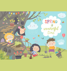 Cute cartoon kids are gardening in spring park vector