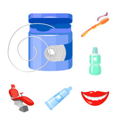 Dental care cartoon icons in set collection vector