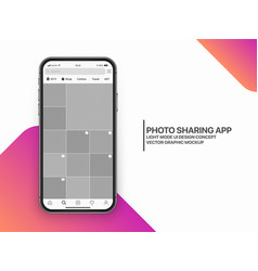 Design template photo sharing mobile app vector