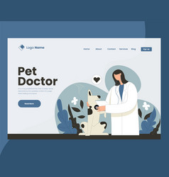 Doctor checking dogs health co vector