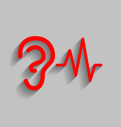 Ear hearing sound sign red icon with soft vector