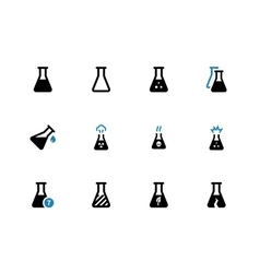 Experiment flask duotone icons on white background vector image