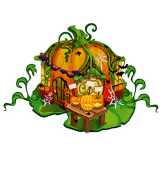 fairy tale house made out of pumpkins home of vector image