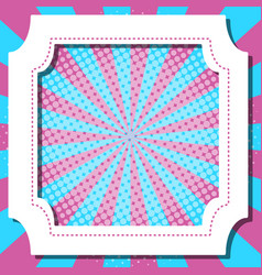 Frame template design with blue and pink stripes vector
