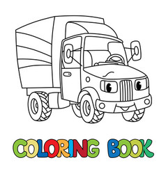 Funny small postal car with eyes coloring book vector