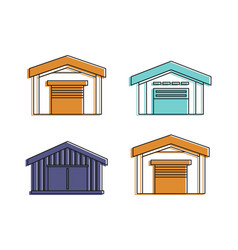 garage icon set color outline style vector image