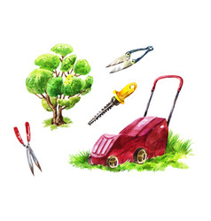 Gardeners tools for mowing the lawn cutting vector