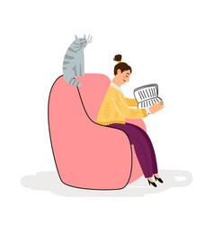 girl with cat reading book vector image
