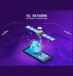 Global 5g internet network satellite communication vector