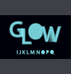 Glow halftone font alphabet vector