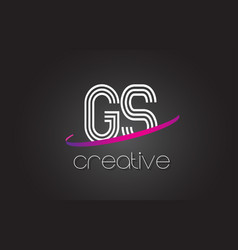 gs g s letter logo with lines design and purple vector image