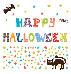 Happy Halloween card with cat spider and bat vector