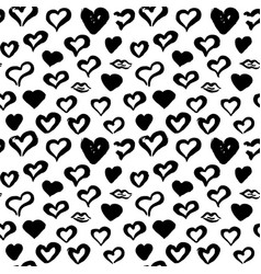 Hearts hand drawn seamless pattern vector